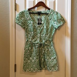 Green and White Cotton Blouse Size L